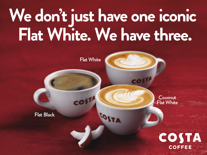 We are celebrating 10 years of our iconic Flat White by introducing the new Oat Flat White. Pop into your local Costa to try it yourself Event Image